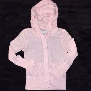 Grand Sz Yth M light pink thermal button up hoodie